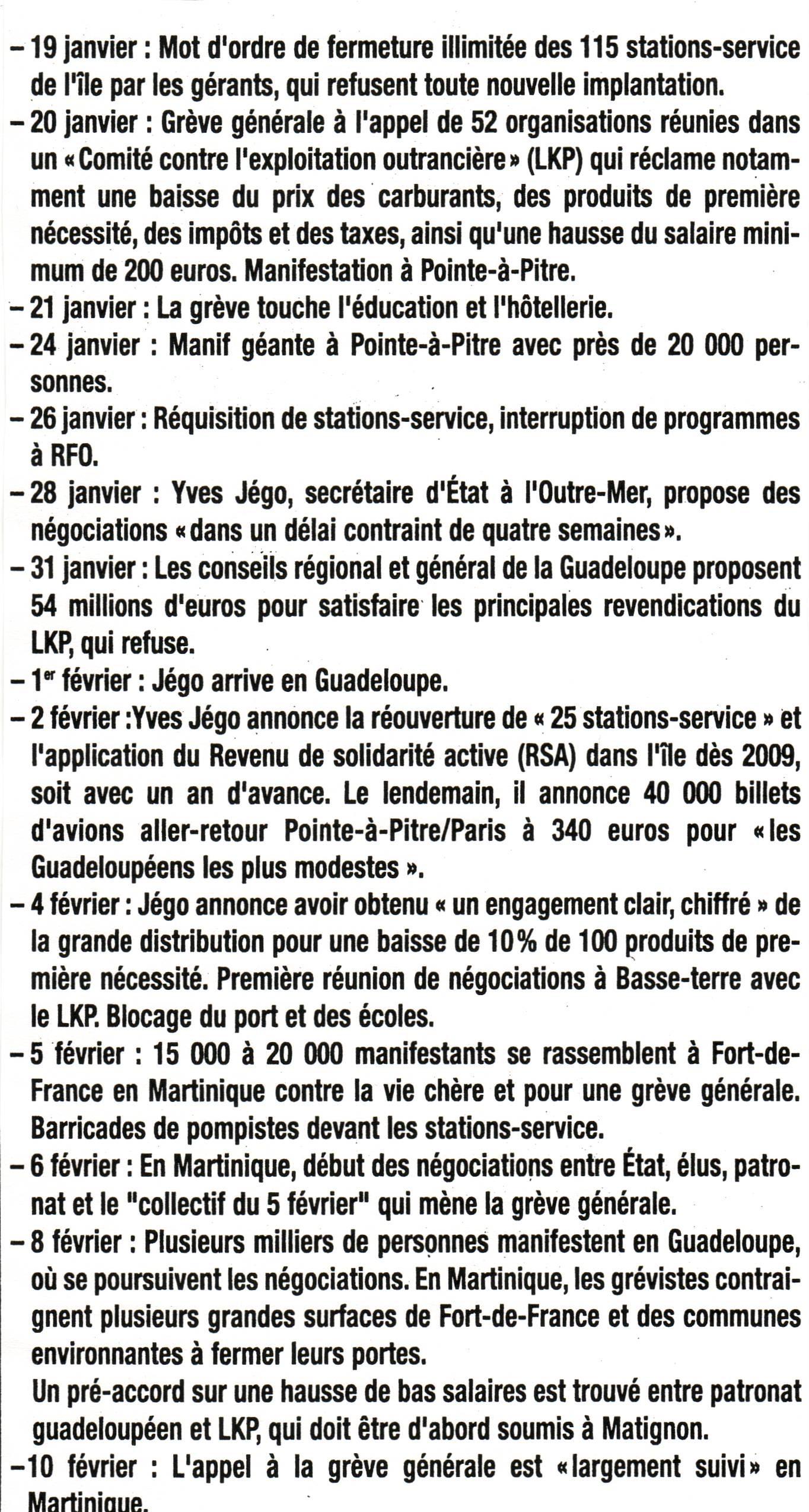 Chronologie mouvement social Guadeloupe - Martinique