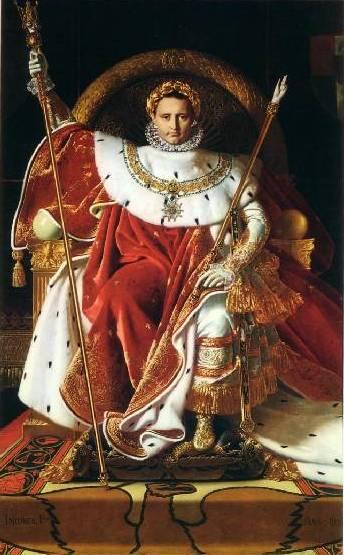 Ingres-Jean-Auguste-Dominique-Napoléon-1er-sur-le-trône-impérial-1806-hst-260-sur-163-Paris-Musée-de-lArmée