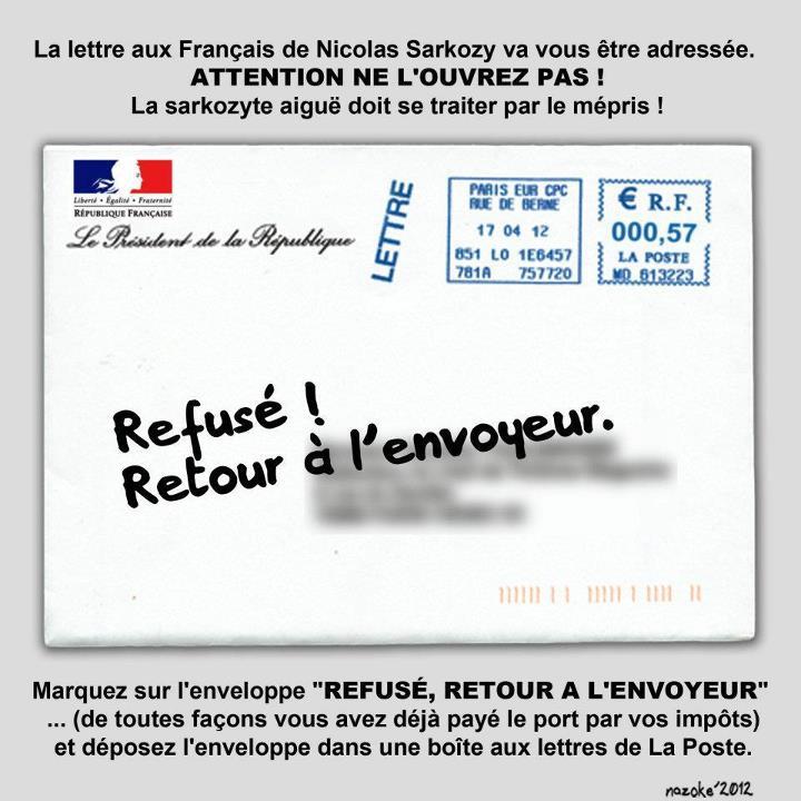 Courrier envoyé par Sarkozy